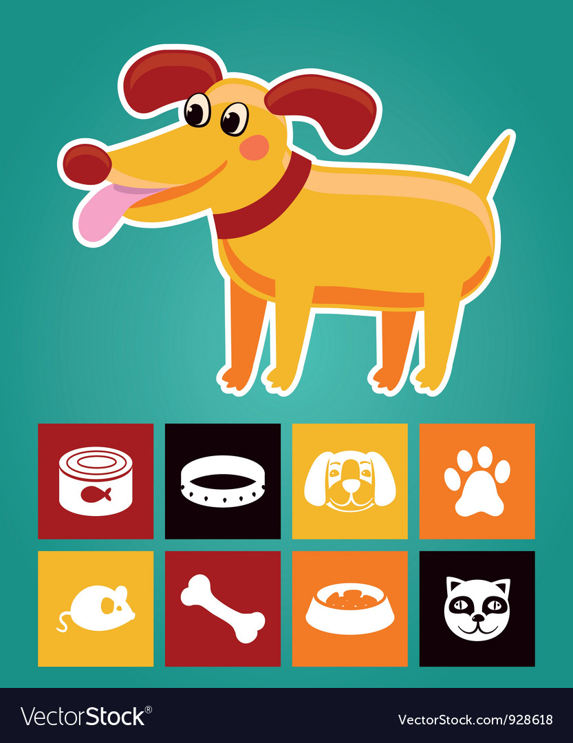 Funny cartoon dog and icons vector | Price: 1 Credit (USD $1)