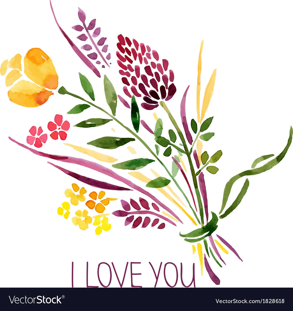 Love card with watercolor floral bouquet vector | Price: 1 Credit (USD $1)