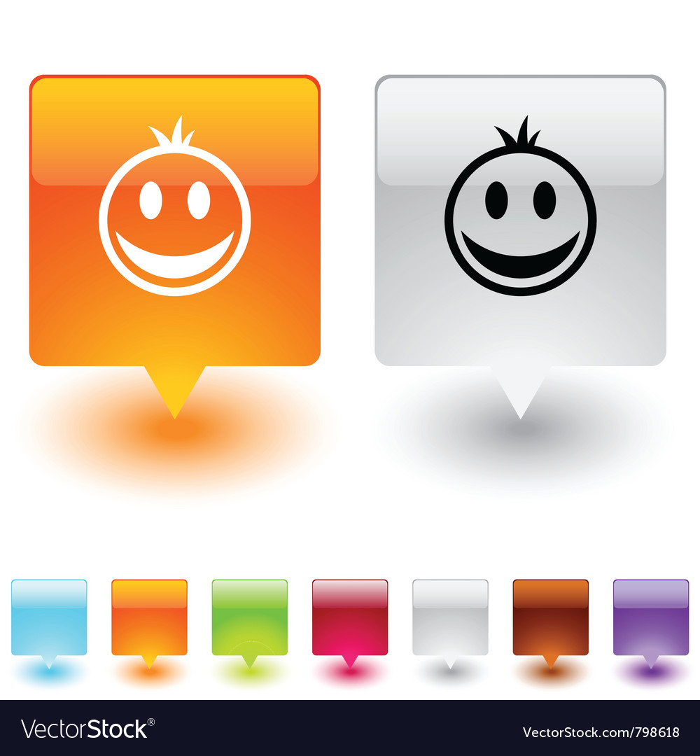 Smiley square button vector | Price: 1 Credit (USD $1)