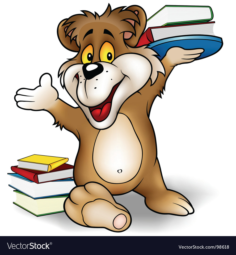 Sweet bear and books vector | Price: 1 Credit (USD $1)