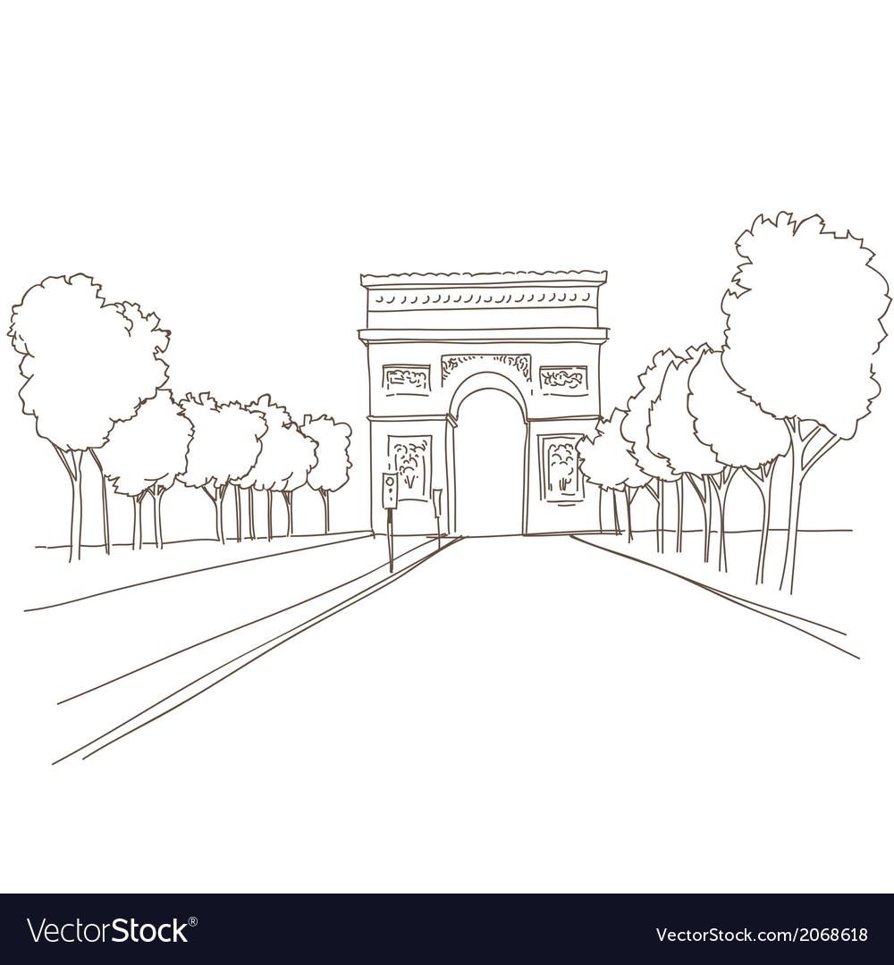 Triumphal arch hand drawn paris vector | Price: 1 Credit (USD $1)