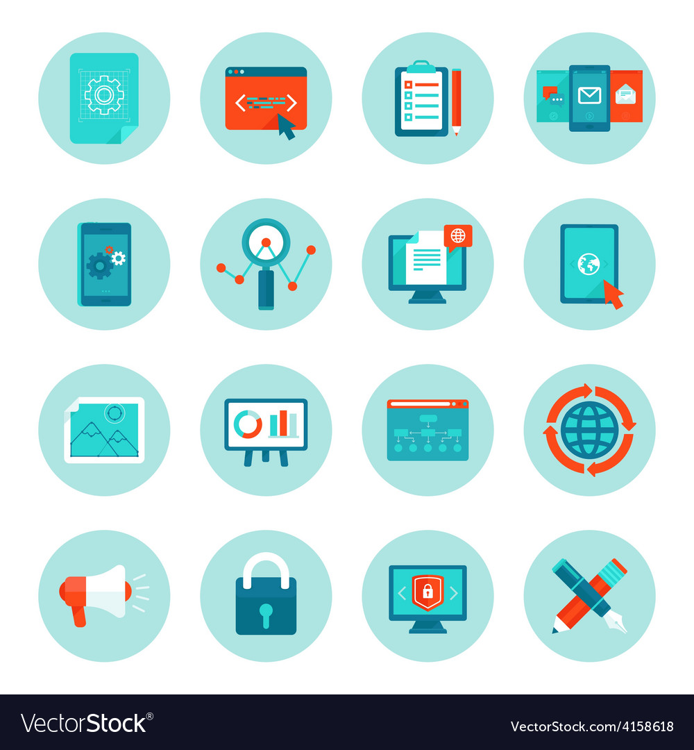 Web development and digital marketing icons vector | Price: 1 Credit (USD $1)