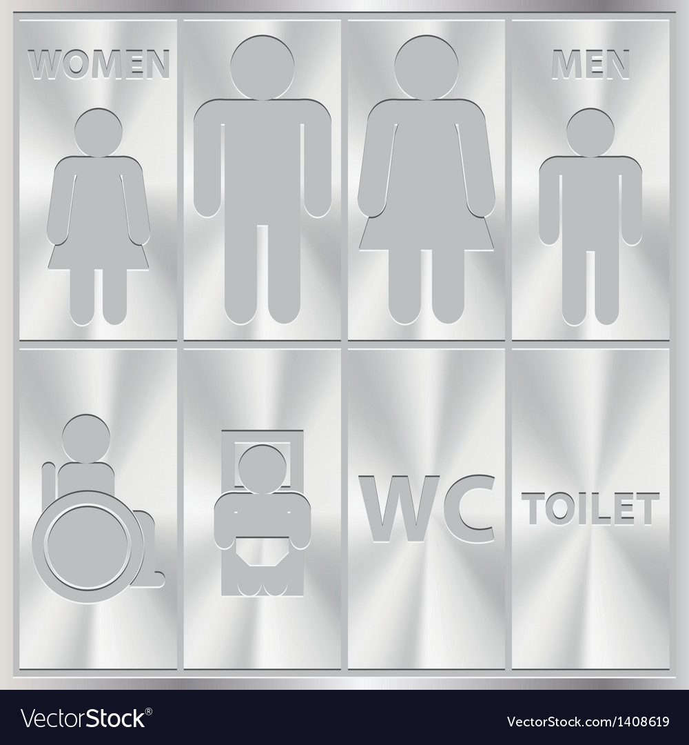 Aluminium toilet sign men and women wc plate vector | Price: 1 Credit (USD $1)