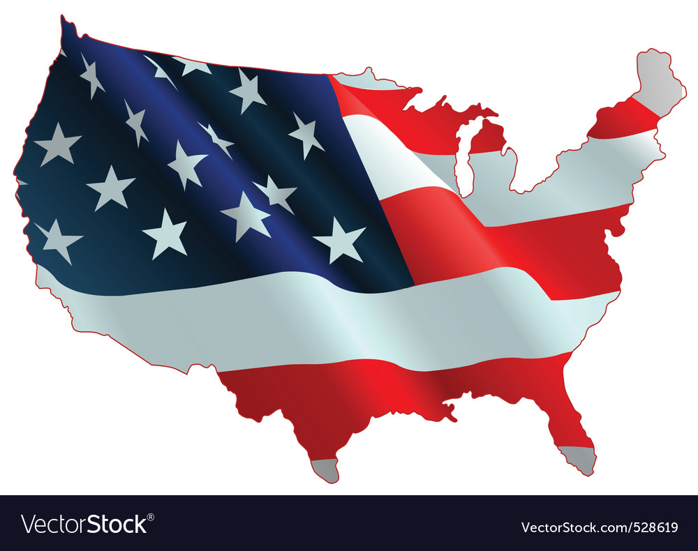 American flag map vector | Price: 1 Credit (USD $1)