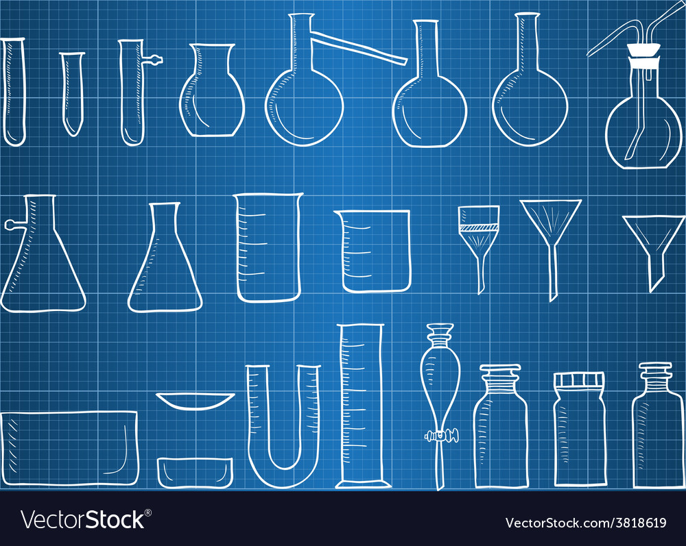 Blueprint of chemical laboratory equipment vector | Price: 1 Credit (USD $1)