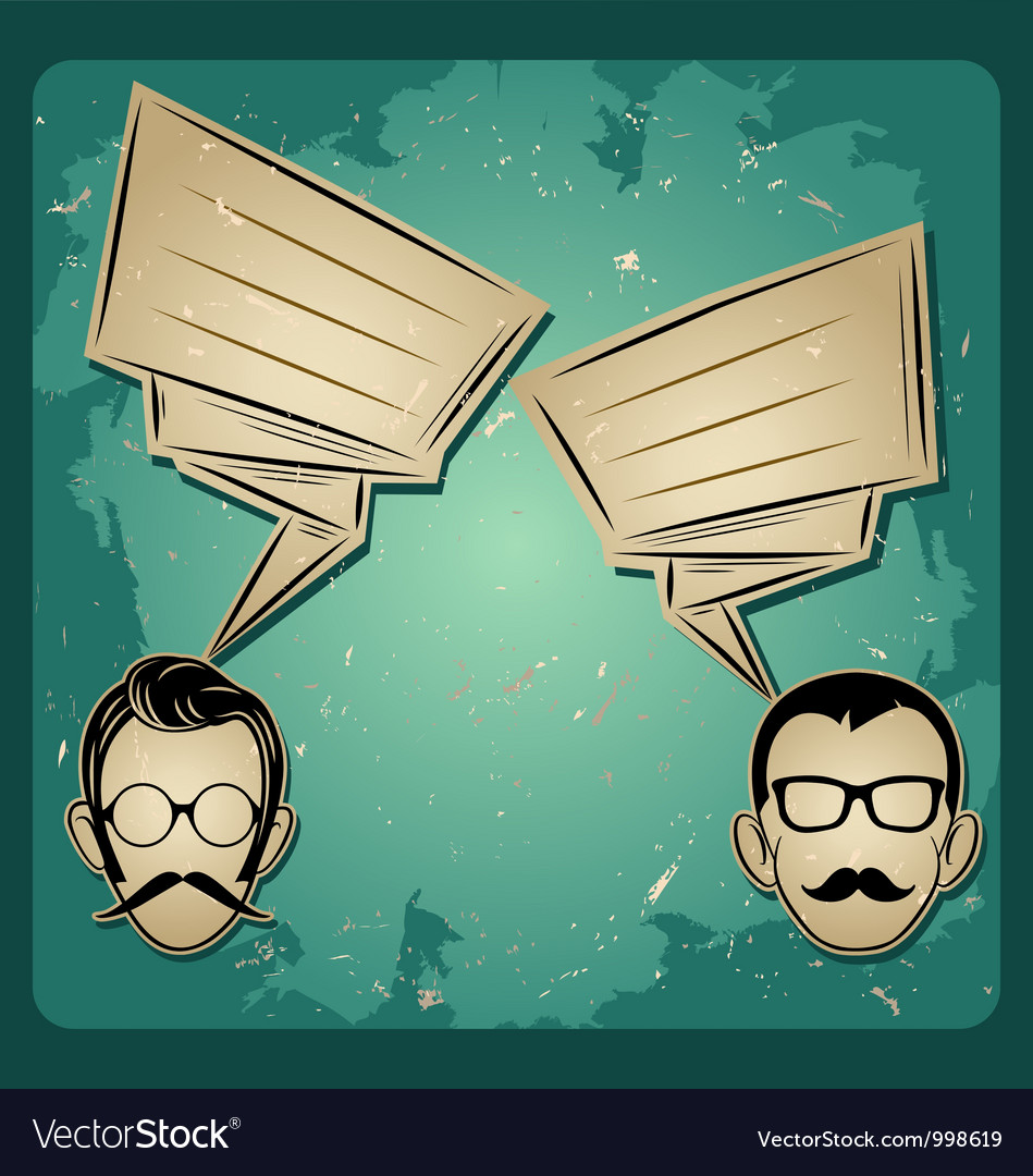 Chat two people faces with mustaches and eyeglass vector | Price: 1 Credit (USD $1)