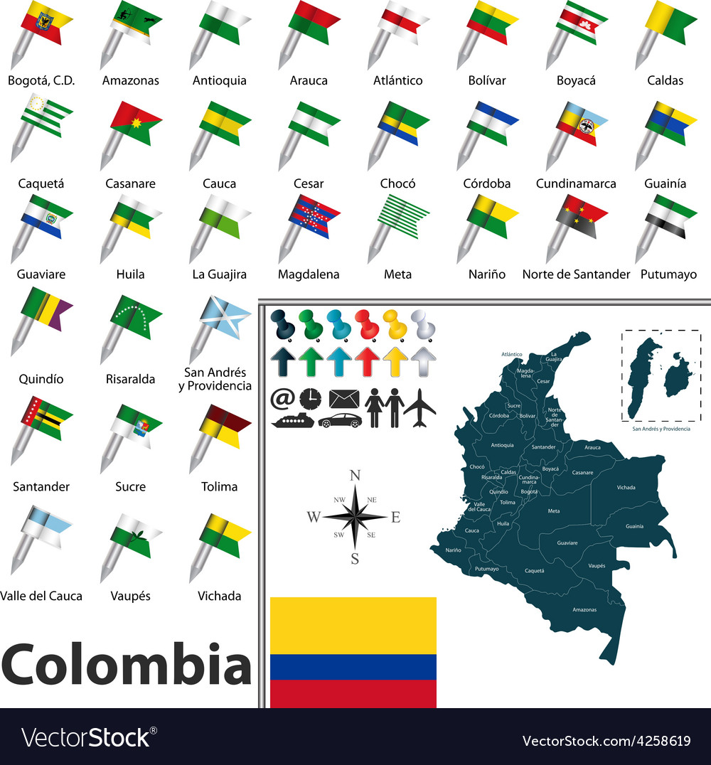 Colombia map with flags vector | Price: 1 Credit (USD $1)