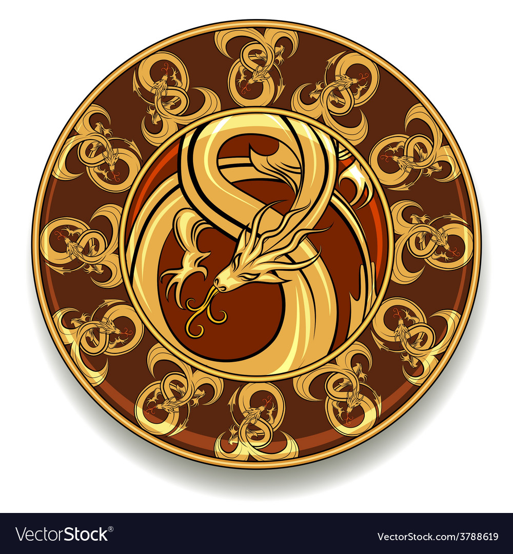 Dragon plate vector | Price: 1 Credit (USD $1)