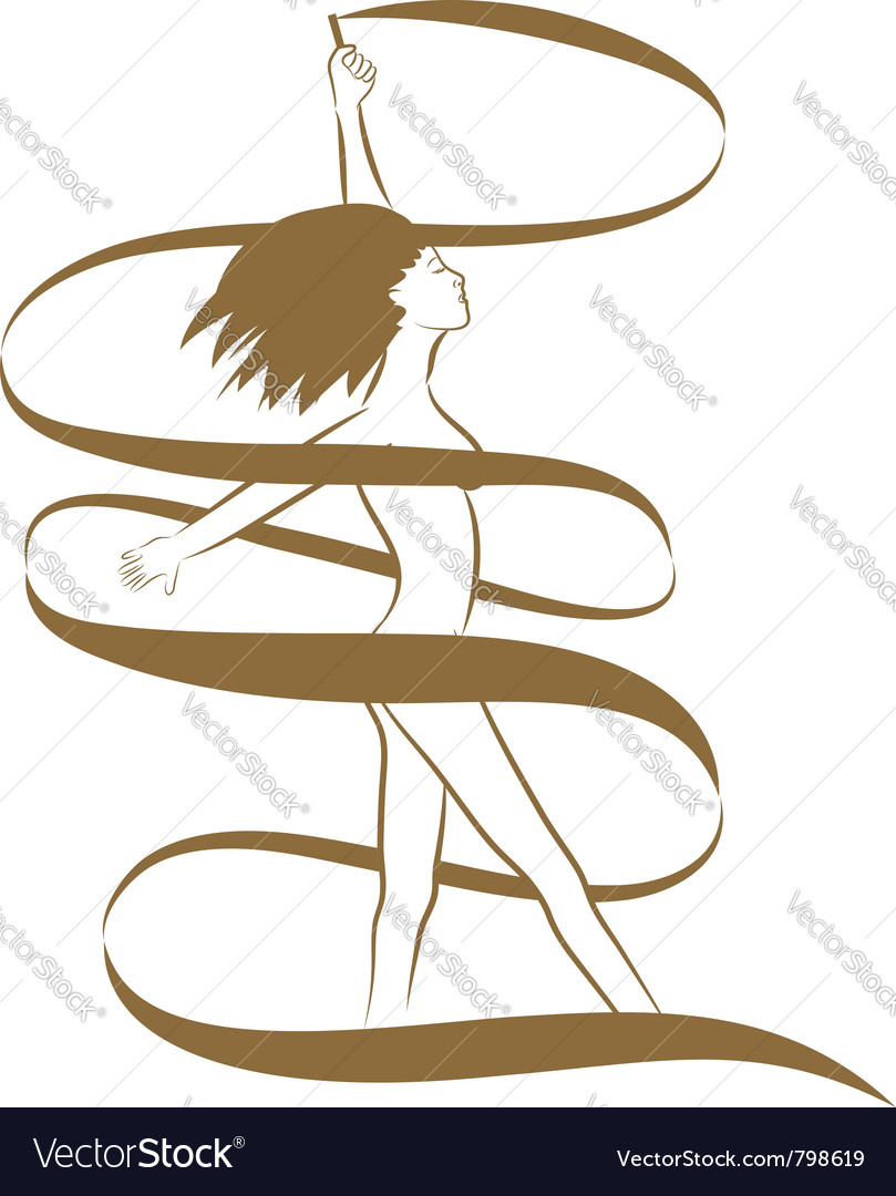 Golden ribbon girl vector | Price: 1 Credit (USD $1)