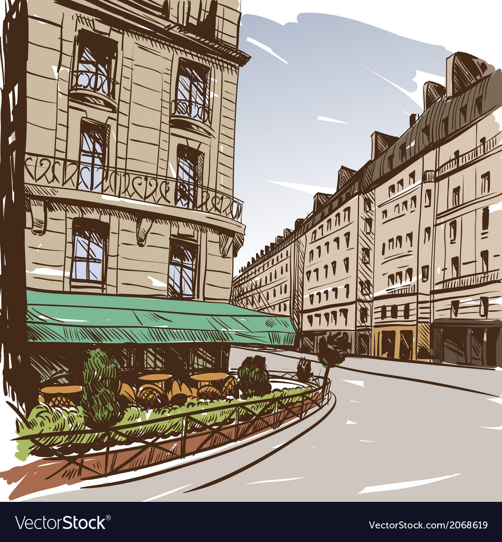 Hand drawn paris cityscapes vector | Price: 1 Credit (USD $1)