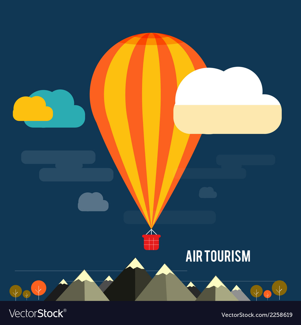 Hot air balloon flying over the mountain vector | Price: 1 Credit (USD $1)