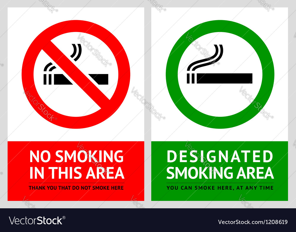 No smoking and smoking area labels - set 13 vector | Price: 1 Credit (USD $1)