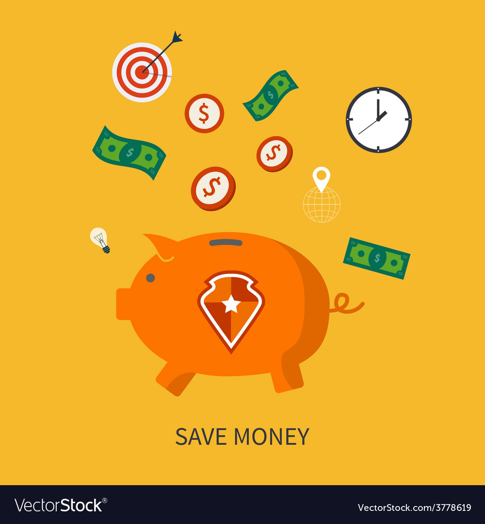 Protection and save is money business concept in vector | Price: 1 Credit (USD $1)