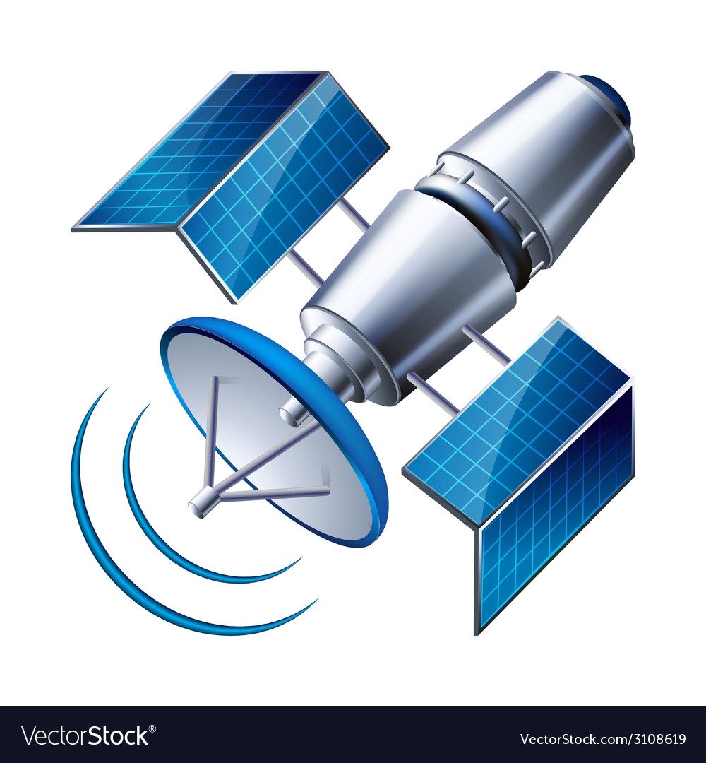 Satellite isolated on white background vector | Price: 1 Credit (USD $1)