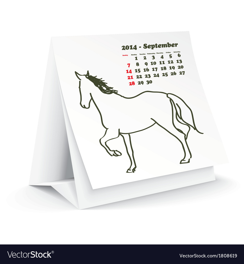 September 2014 desk horse calendar vector | Price: 1 Credit (USD $1)
