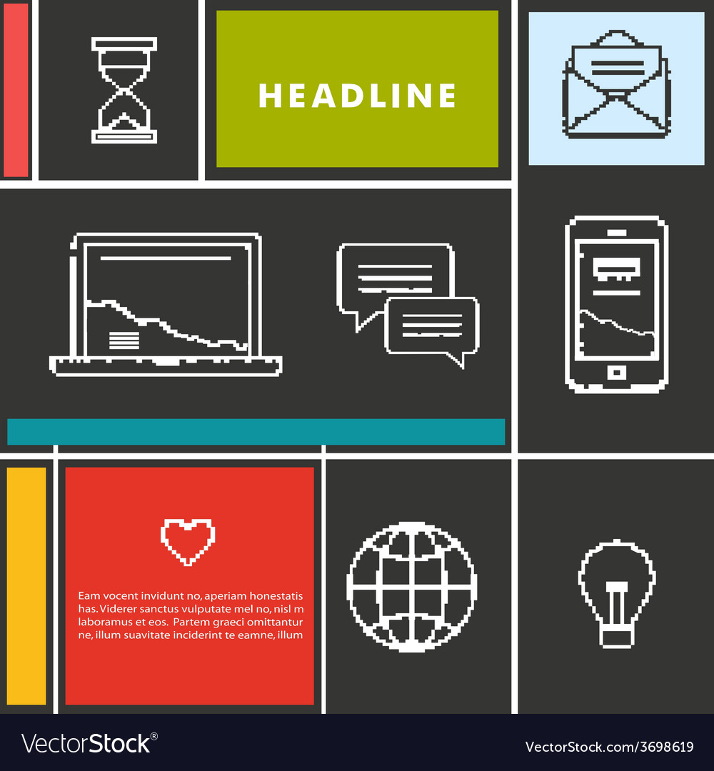 Set icons for business internet and communication vector | Price: 1 Credit (USD $1)