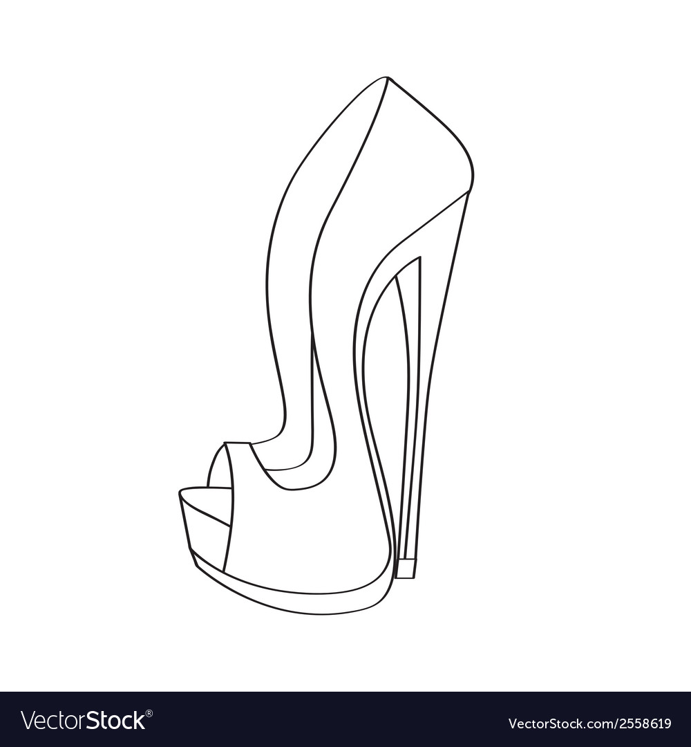 Shoes on a high heel isolated on white background vector | Price: 1 Credit (USD $1)