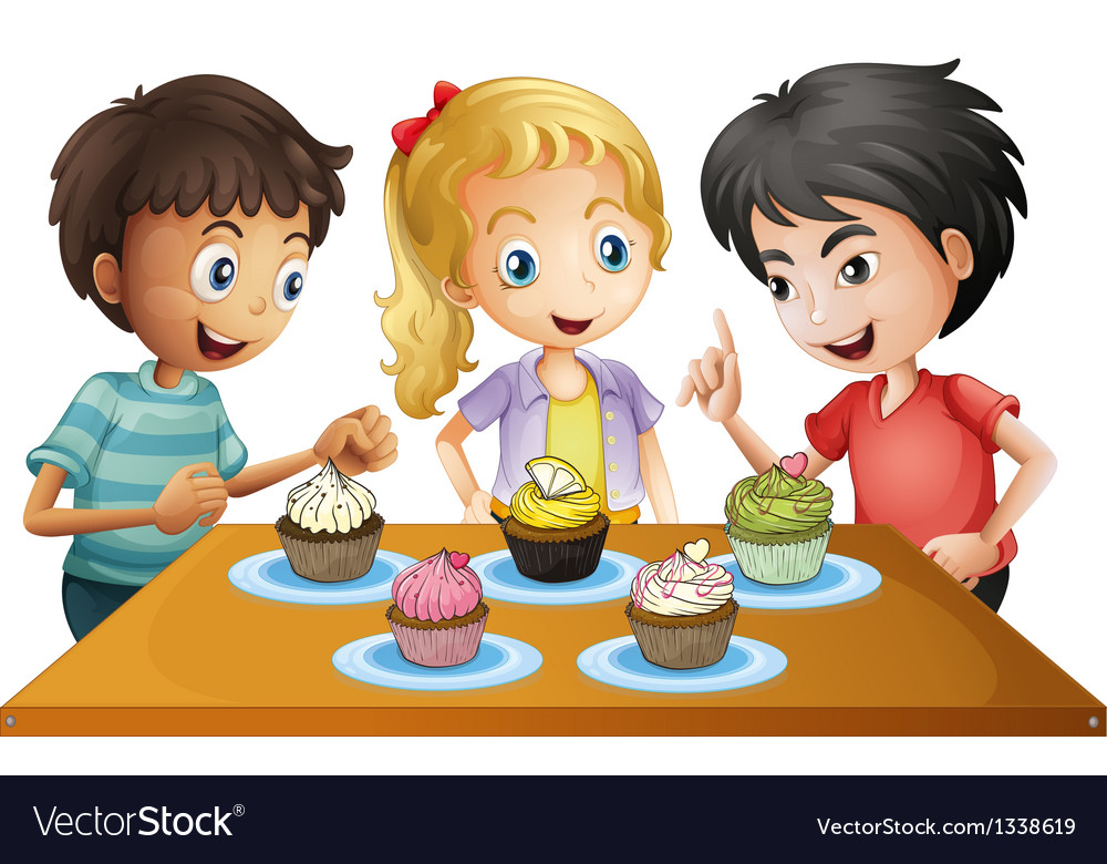 Three kids at the table with cupcakes vector