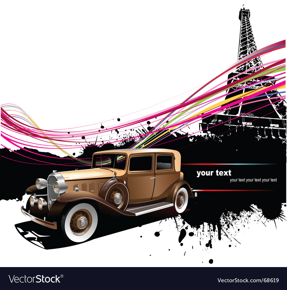 Vintage car in paris vector | Price: 1 Credit (USD $1)