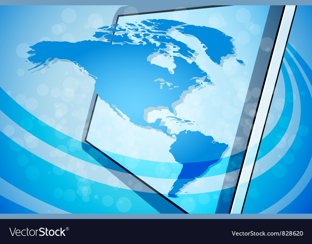 Blue world map background vector | Price: 3 Credit (USD $3)