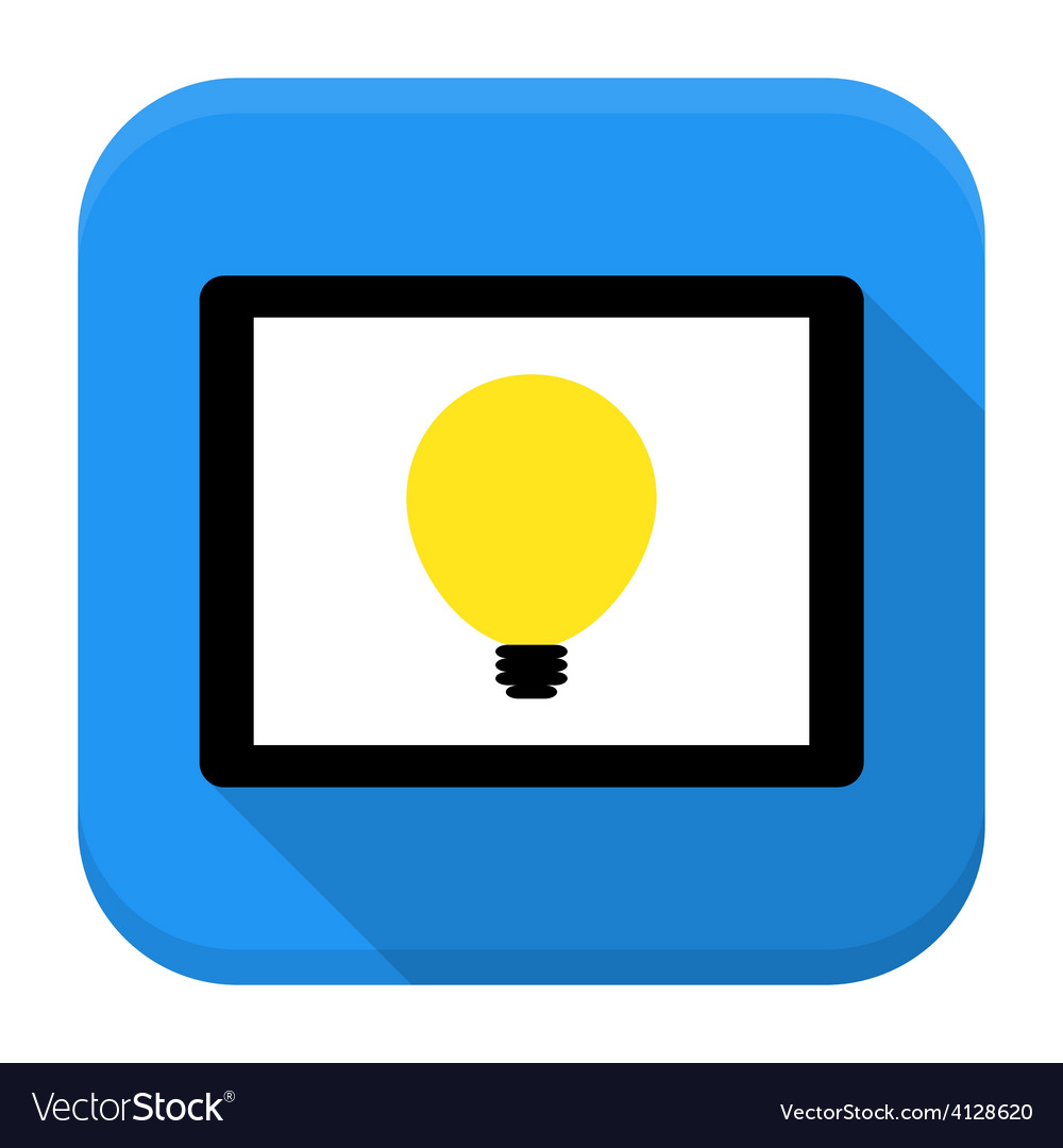 Desk with lamp idea app icon with long shadow vector | Price: 1 Credit (USD $1)