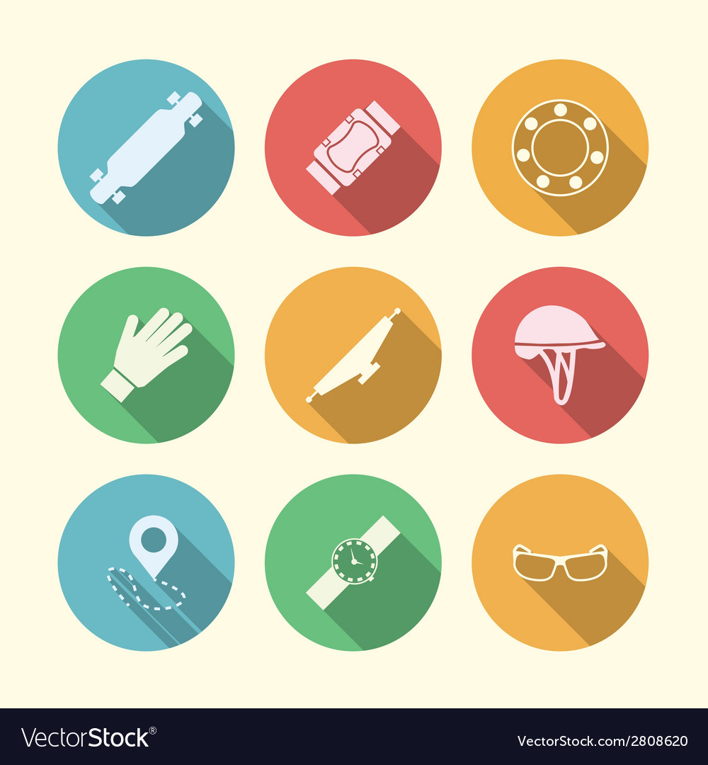 Flat colored icons for accessories for vector | Price: 1 Credit (USD $1)