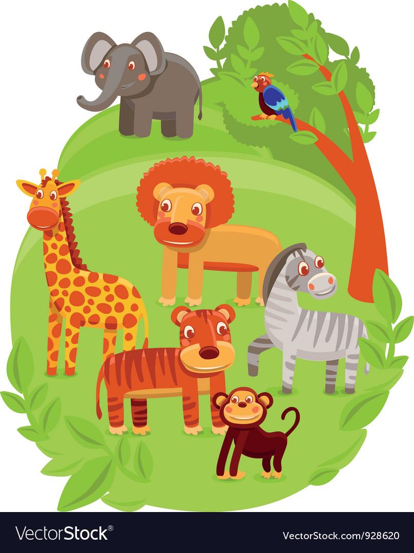 Funny cartoon animals in green jungle vector | Price: 3 Credit (USD $3)