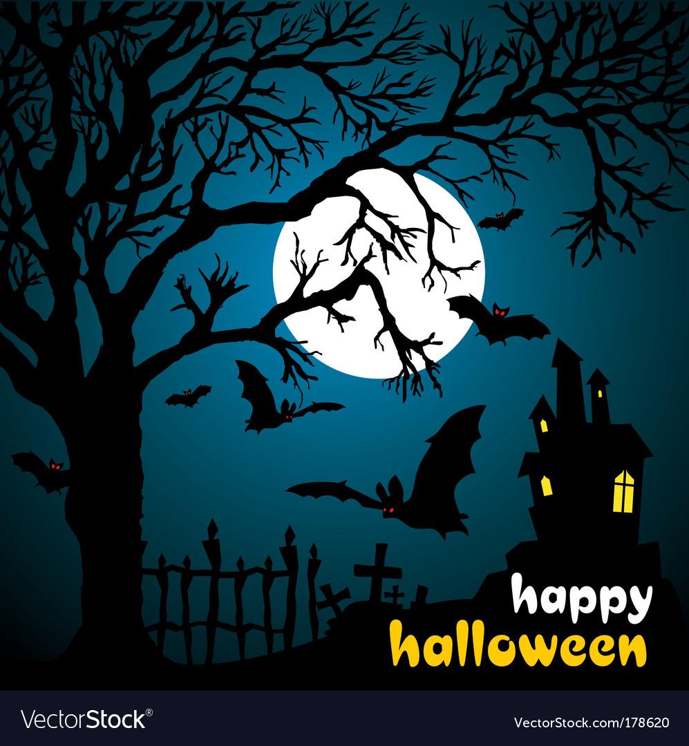 Halloween scene vector | Price: 1 Credit (USD $1)