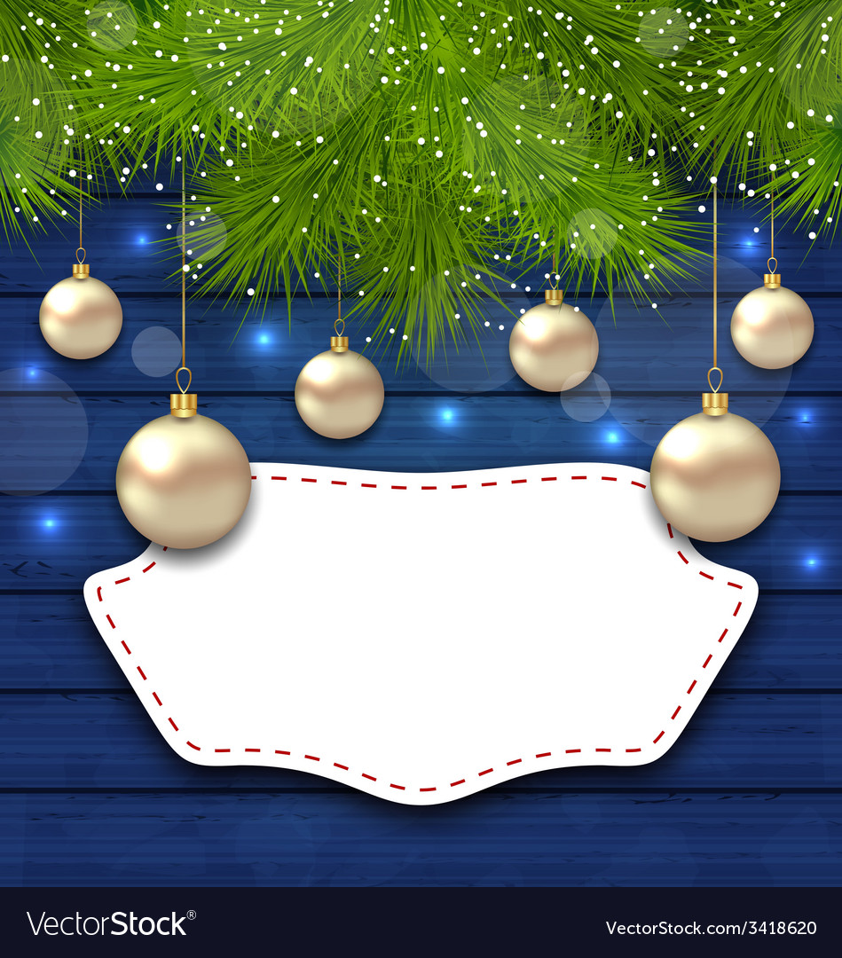 Navidad greeting card with golden balls and fir vector | Price: 1 Credit (USD $1)