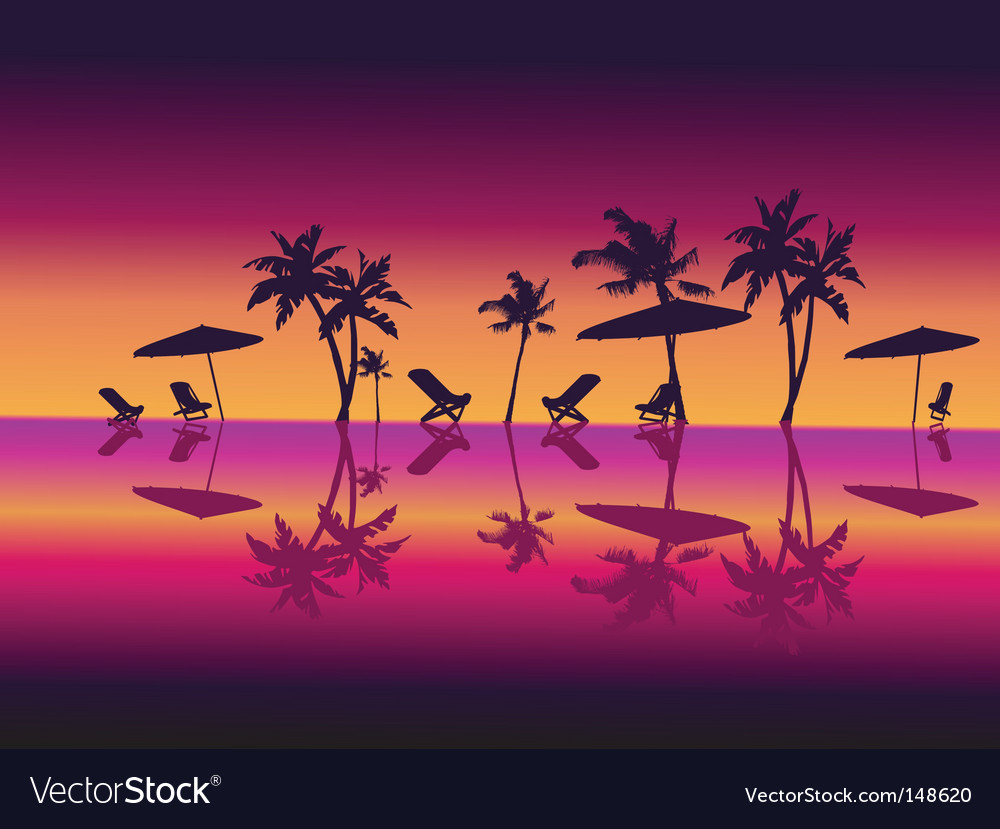 Night beach scene vector | Price: 1 Credit (USD $1)