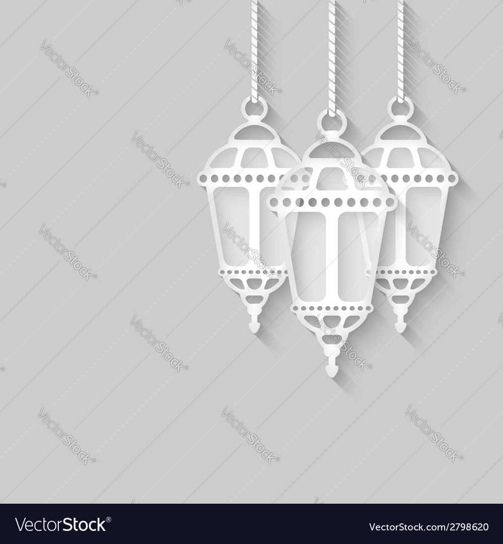 Paper lanterns on gray background vector | Price: 1 Credit (USD $1)