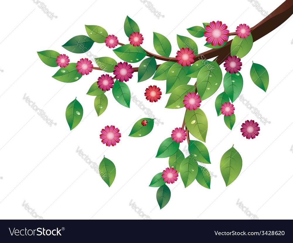 Pink flowers and green leaves branch vector | Price: 1 Credit (USD $1)