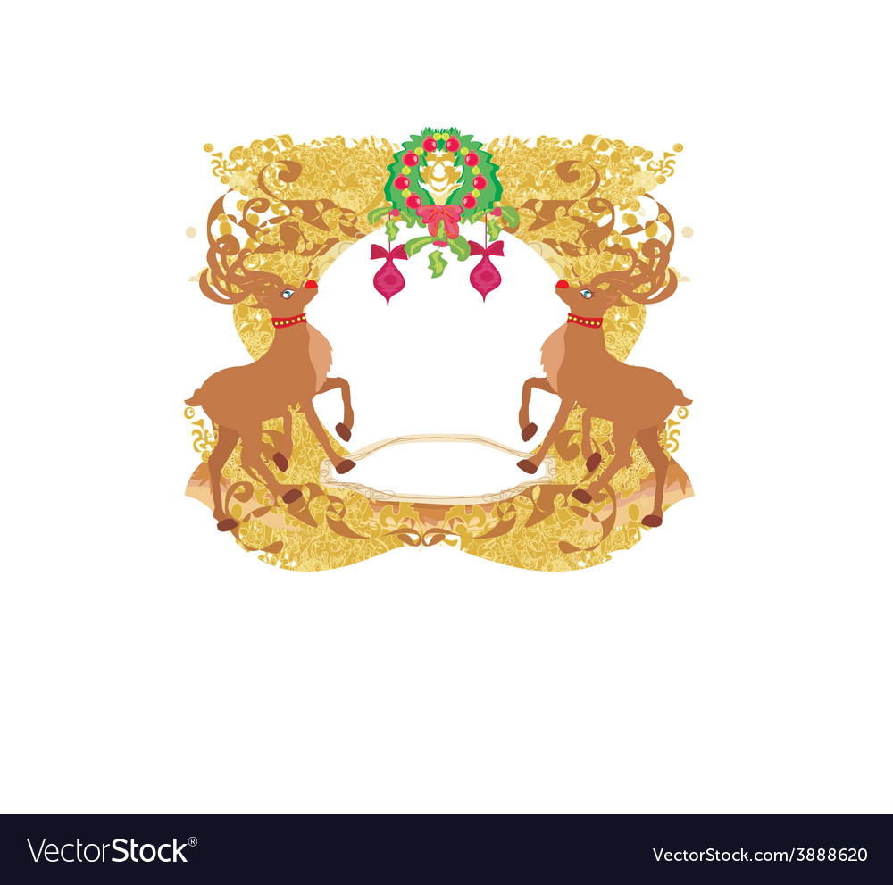 Reindeer christmas card design vector | Price: 1 Credit (USD $1)