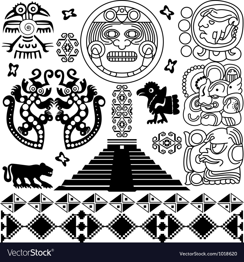 Set of ancient america small vector | Price: 1 Credit (USD $1)