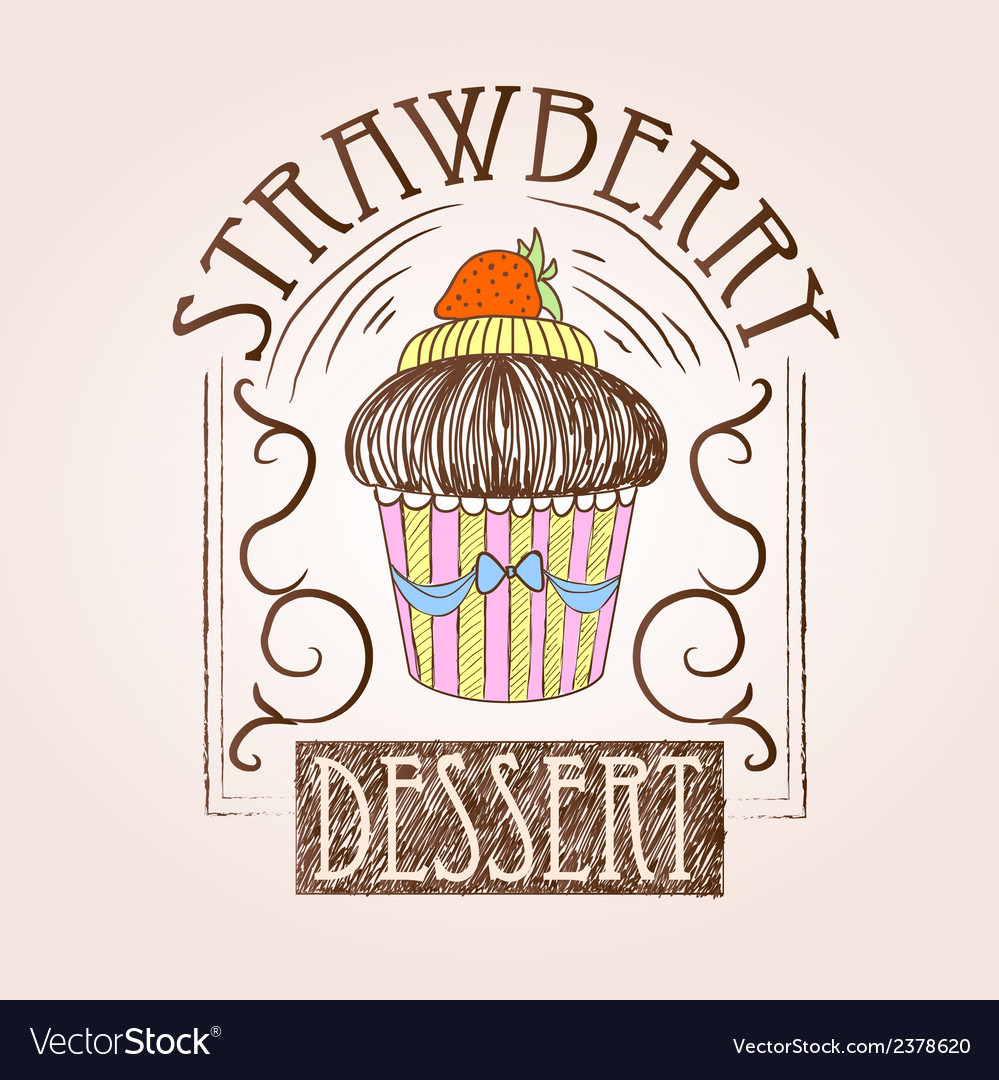 Sweet cake decorative sketch vector | Price: 1 Credit (USD $1)