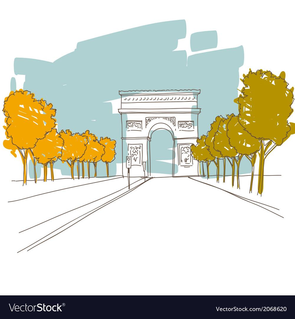 Triumphal arch hand drawn paris vector   Price: 1 Credit (USD $1)