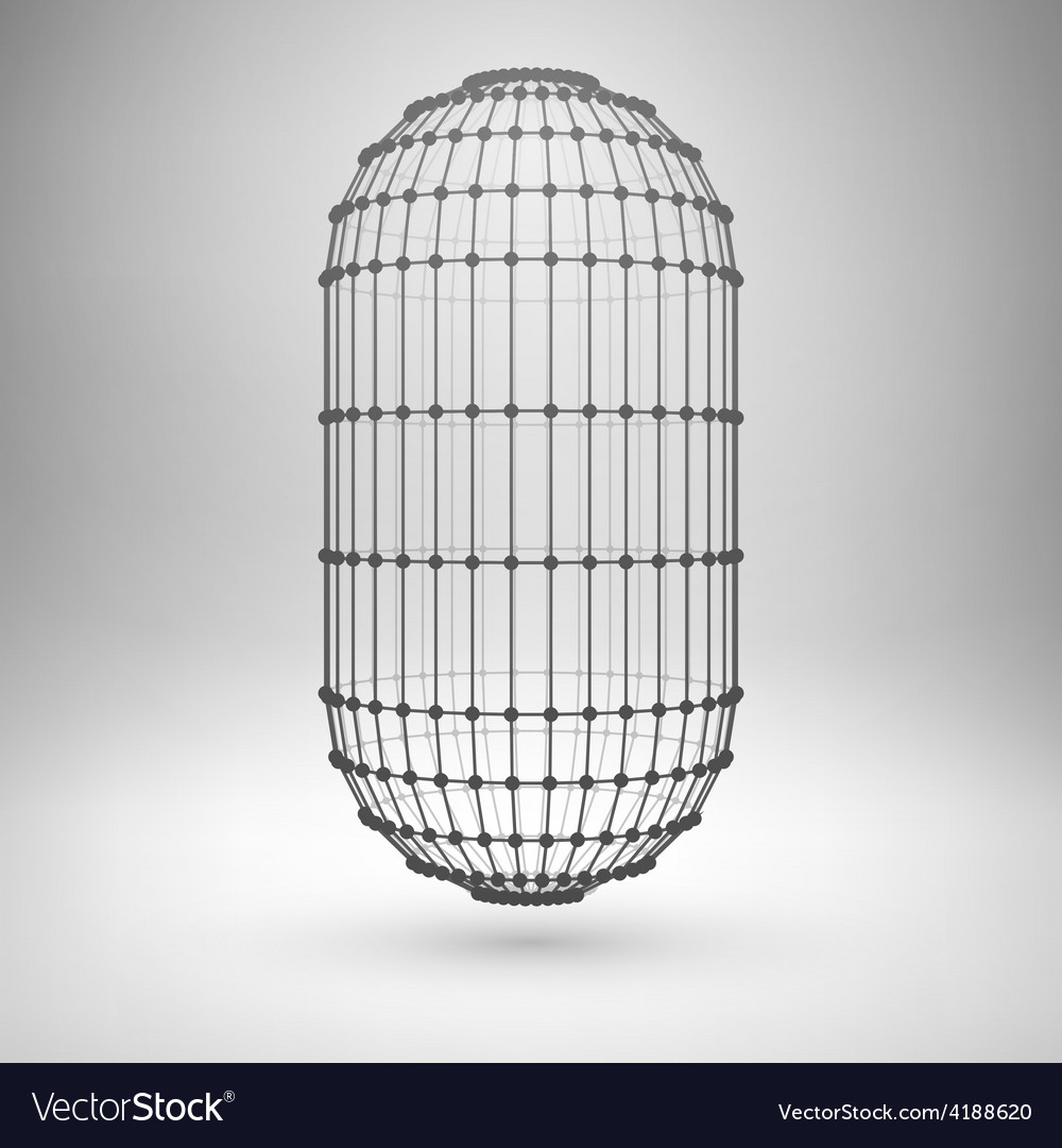 Wireframe mesh polygonal capsule vector | Price: 1 Credit (USD $1)