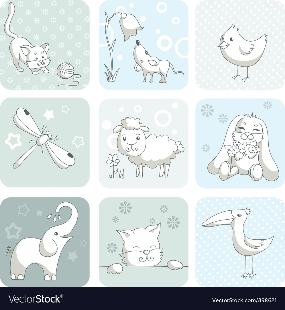Baby card with animals vector | Price: 3 Credit (USD $3)