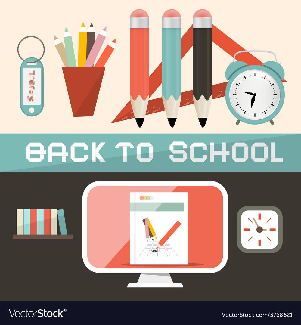 Back to school in retro flat design style vector | Price: 1 Credit (USD $1)