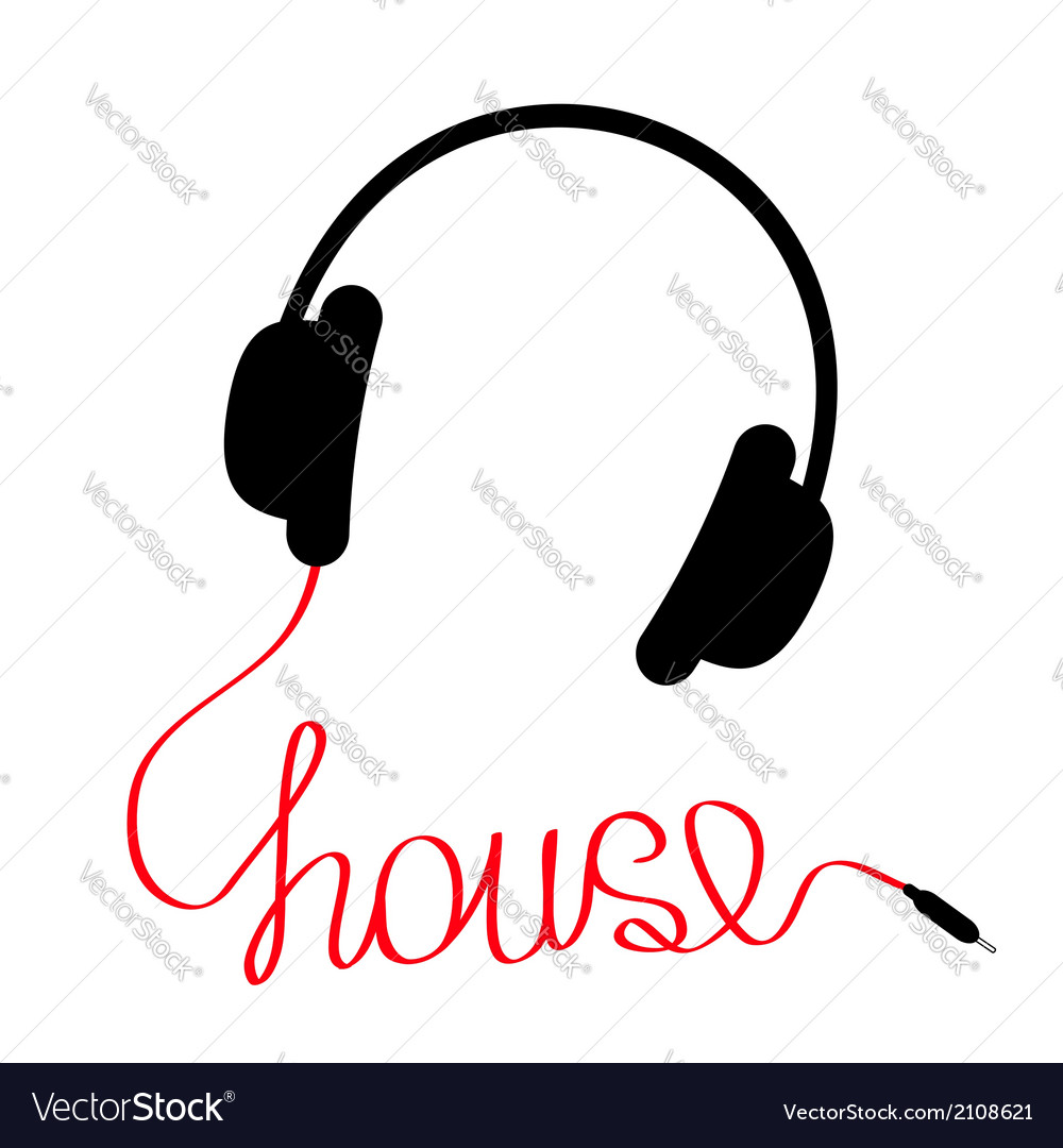 Black headphones with red cordshape of word house vector | Price: 1 Credit (USD $1)