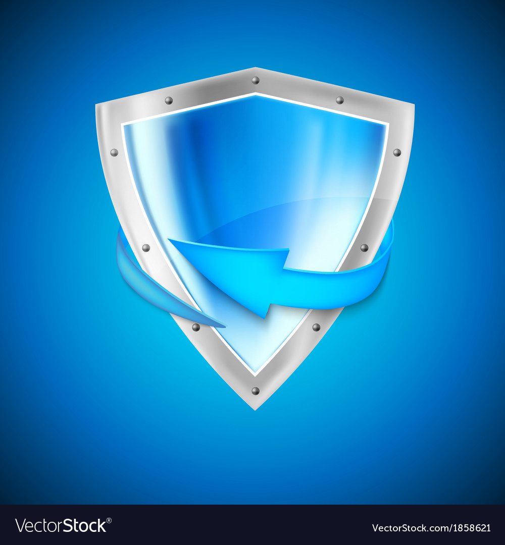 Blue shield with arrow vector | Price: 1 Credit (USD $1)