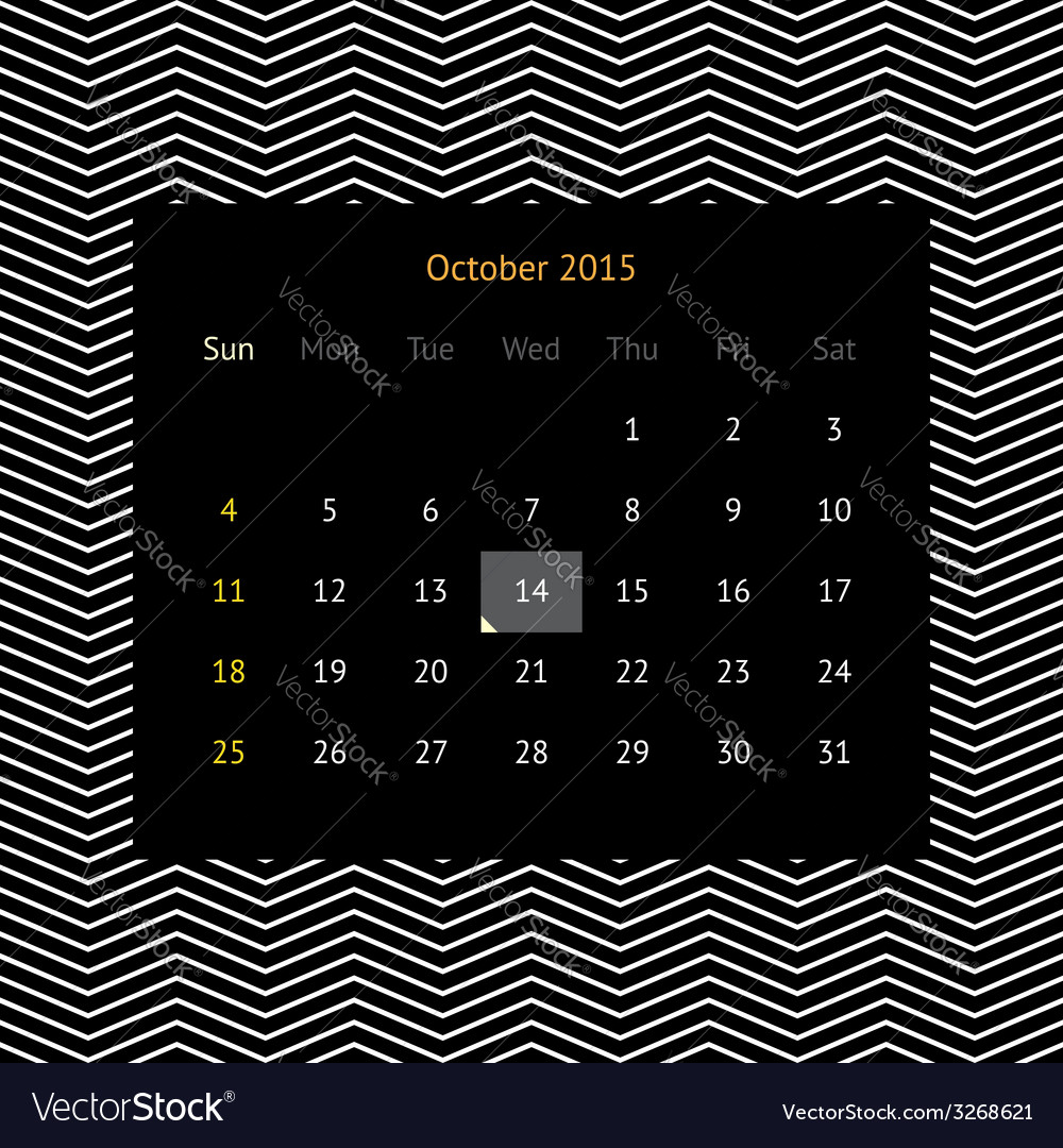 Calendar page for october 2015 vector | Price: 1 Credit (USD $1)