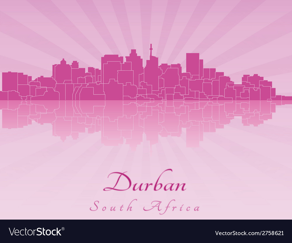 Durban skyline in radiant orchid vector | Price: 1 Credit (USD $1)