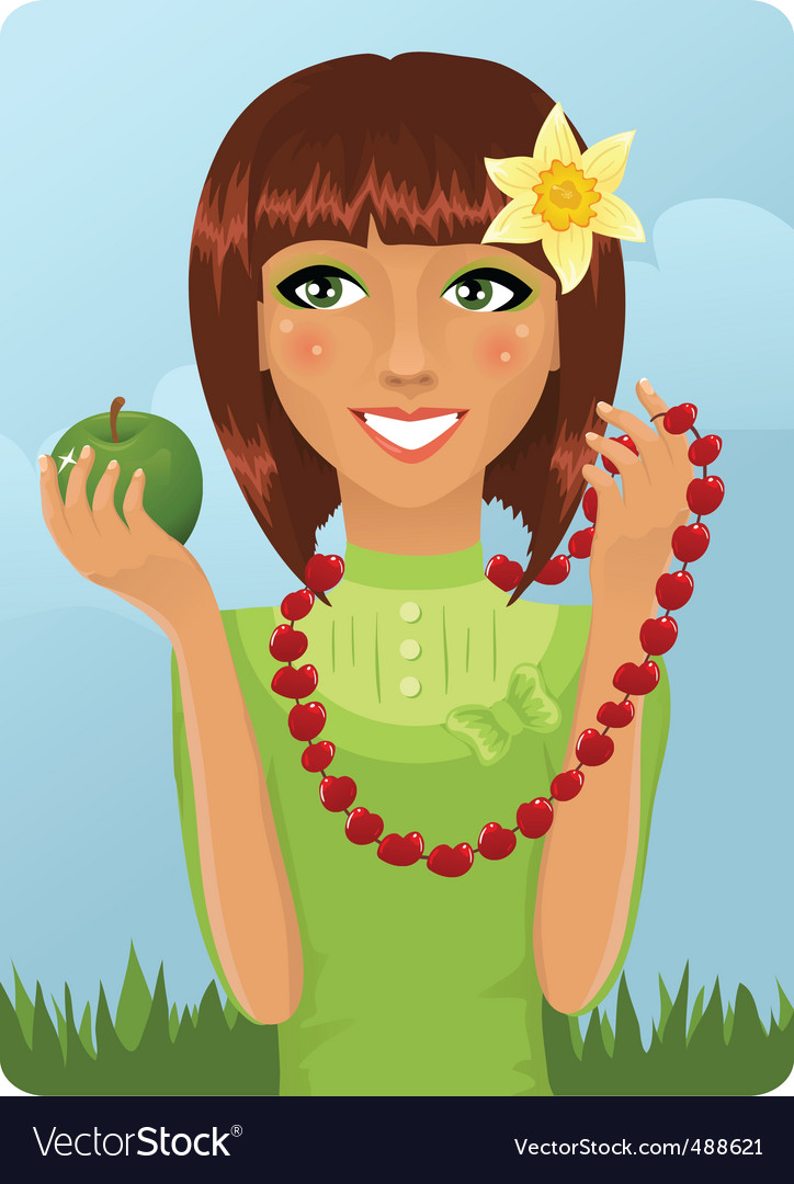 Eco girl with berry necklace vector | Price: 1 Credit (USD $1)