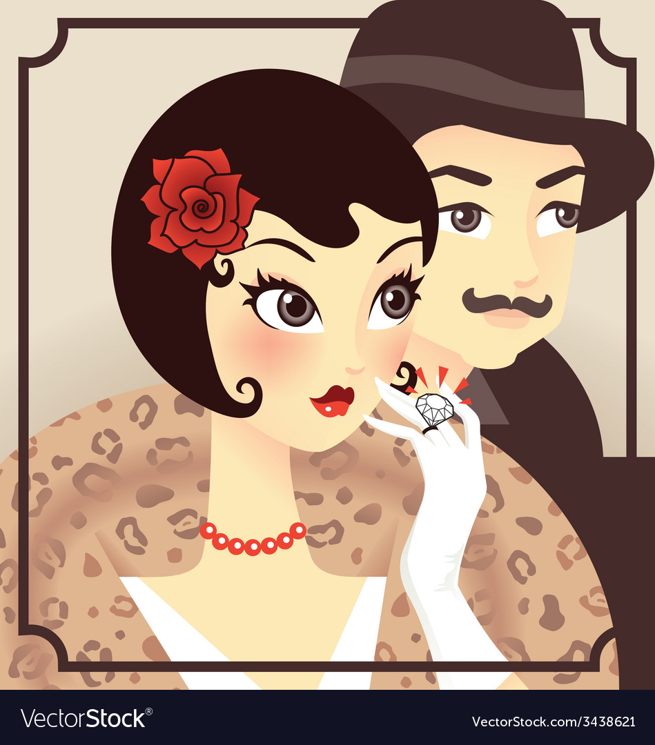 Flapper couple vector | Price:  Credit (USD $)