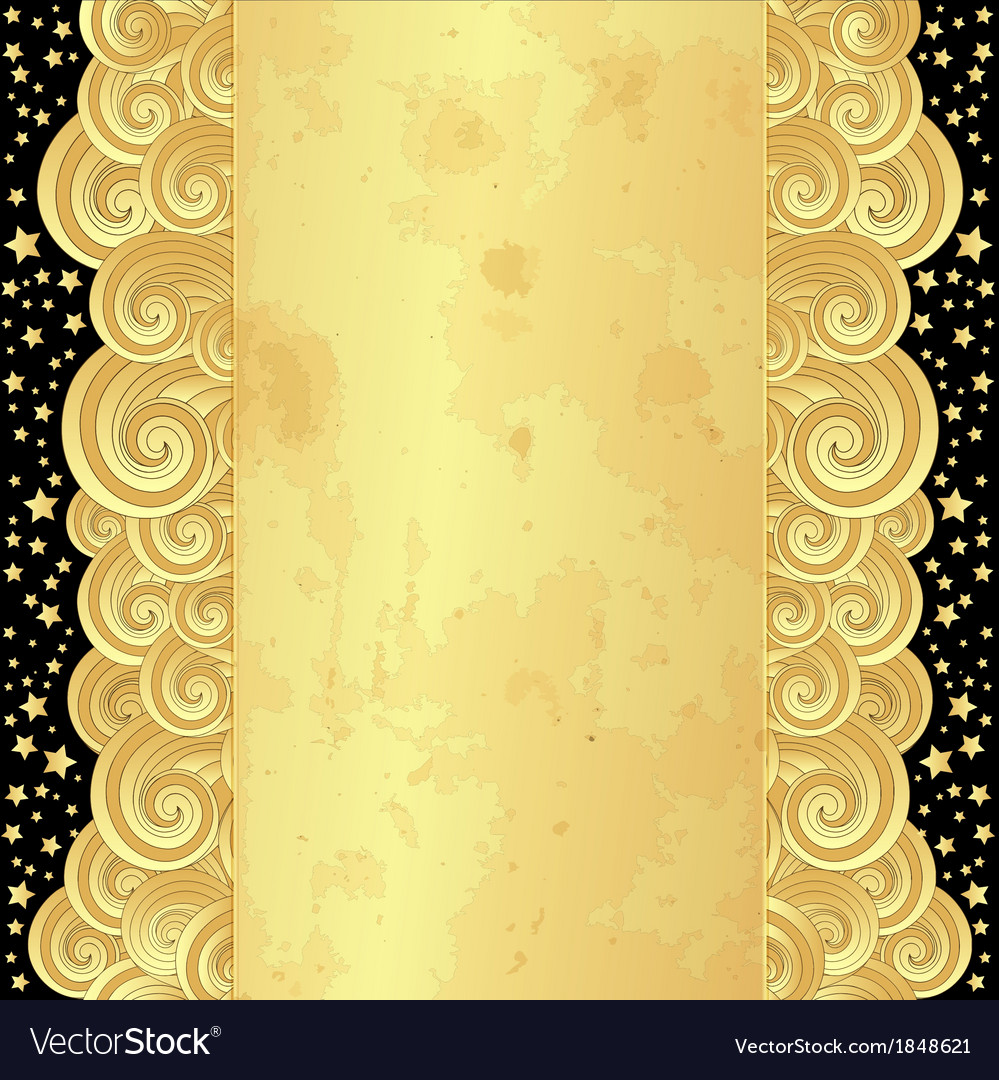 Golden frame with curly waves vector | Price: 1 Credit (USD $1)