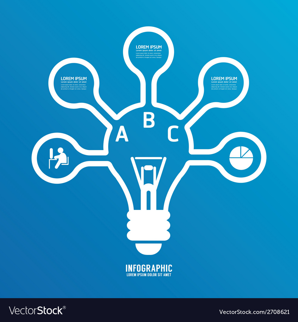 Light bulb line infographics options banner vector | Price: 1 Credit (USD $1)