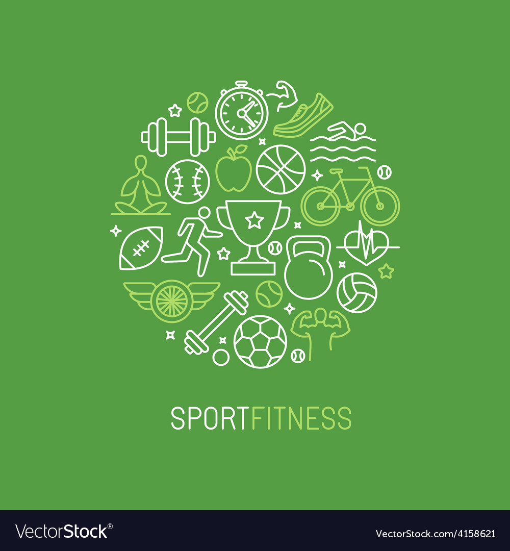 Linear sport and fitness logo vector | Price: 1 Credit (USD $1)