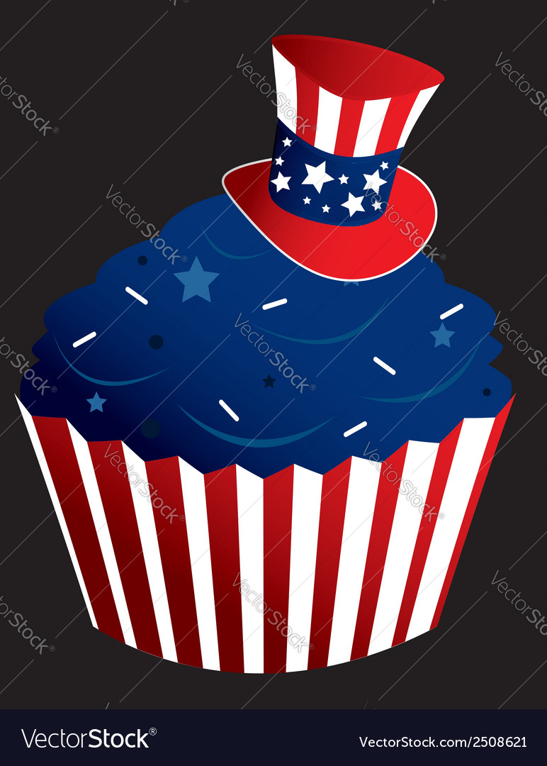 Red white and blue cupcake vector | Price: 1 Credit (USD $1)