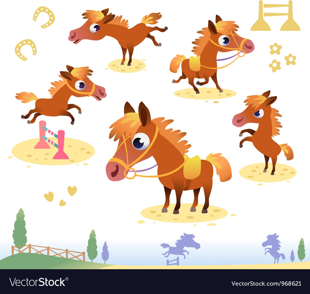 Set of bay horses vector | Price: 3 Credit (USD $3)